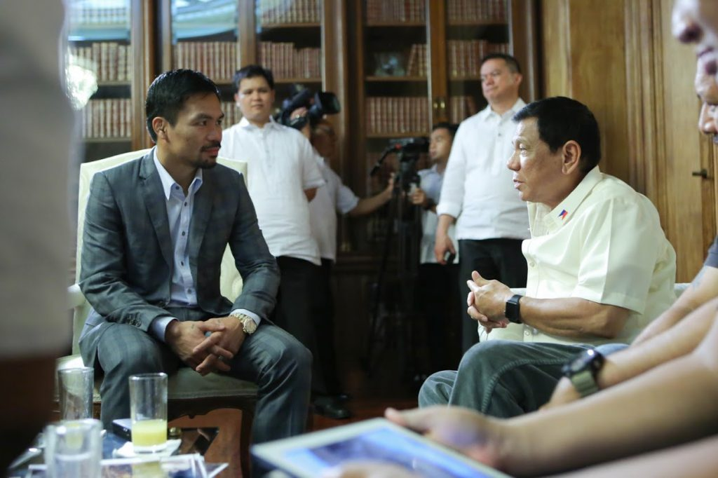 President Duterte meets with Senator Pacquiao at the Study Room of Malacañan Palace 080116 1024x682 - Manny Pacquiao – żywa legenda Filipin